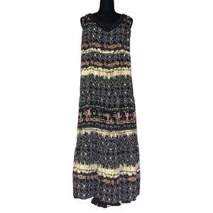 Elementz safari print appliqué neck maxi dress
